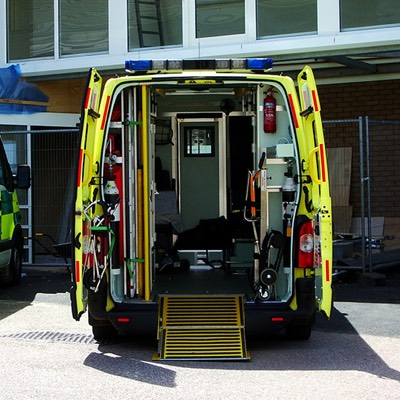 The back of an open ambulance
