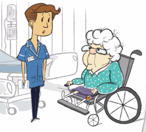 screenshot from catheter care animation showing a lady with catheter in a wheelchair and a health care professional